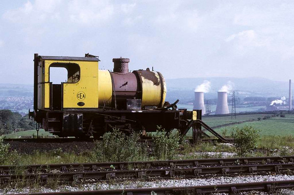 Huncoat No 2, Huncoat power station, 15 June 1973.  Bagnall 0-4-0F 3022 / 1951, out of use at the end of a siding.  Since scrapped.  Photo by Les Tindall.