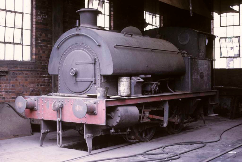 [Agecroft No 1], Agecroft power station, 15 June 1973.  Robert Stephenson & Hawthorns 0-4-0ST 7416 / 1948 inside the shed.  In 2016 it was at the Manchester Museum of Science & Industry.  Photo by Les Tindall.