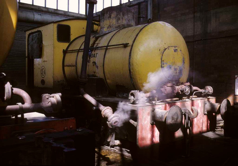 Huncoat No 1, Huncoat power station, 15 June 1973.  Bagnall 0-4-0F 2989 / 1951, in the shed.  Since scrapped.  Photo by Les Tindall.