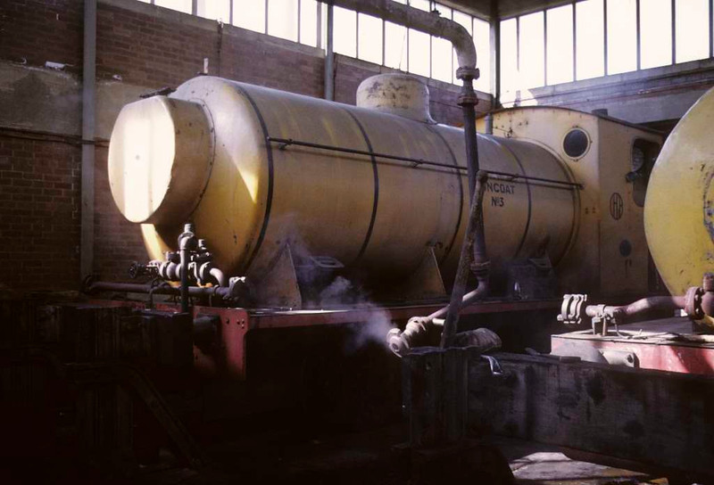 Huncoat No 3, Huncoat power station, 15 June 1973.  Hawthorn Leslie 0-6-0F 3746 / 1929, in the shed.  At the Tanfield Railway in 2016.  Photo by Les Tindall.