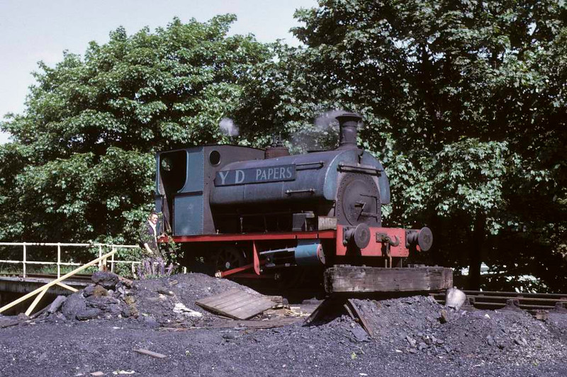 May, Yates Duxbury paper mill, Heap Bridge, Heywood, 15 June 1973.  Peckett 0-4-0ST 1370 / 1915.  At the East Lancashire Railway in 2016.  Photo by Les Tindall.