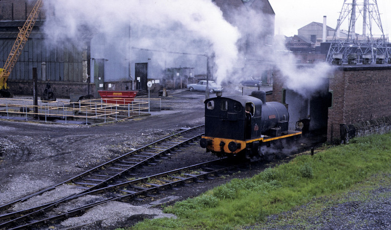 No 1 Lancaster emerges from the loco  shed, Lancaster power station, 9 June 1973.  Photo by Les Tindall.