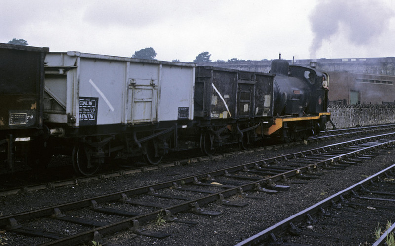 No 1 Lancaster shunts coal wagons at Lancaster power station, 9 June 1973 2.    Les's final Lancaster shot, with the parapet of the Lune aqueduct in the background. Photo by Les Tindall.