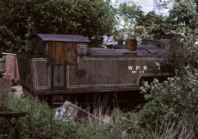 Wemyss Private Railway No 17, Thomas Muir's scrapyard, Thornton, 14 June 1973.  No 17 is Barclay 0-6-0T 2017 / 1935 and has been preserved on the Strathspey Railway.  Photo by Les Tindall.