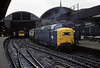 55015 Tulyar, Newcastle, 27 March 1976    The Deltic stands at platform 8 with the 0800 King's Cross - Edinburgh. Photo by Les Tindall.