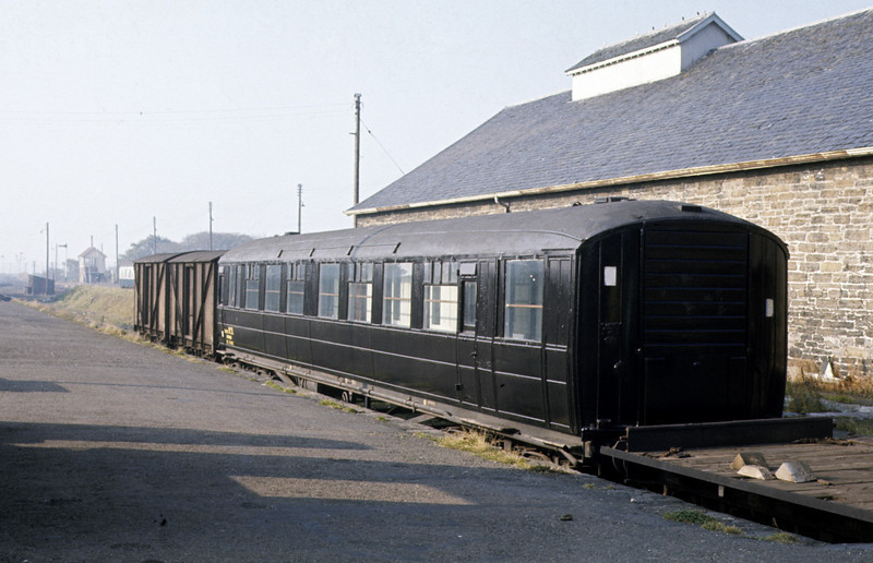 Wick station, 7 October 1972 2.    Gresley corridor coach built in 1936 in use as a mess and dormitory coach.  Its number cannot be made out, but there is a large (departmental?)  'No 9'. Photo by Les Tindall.