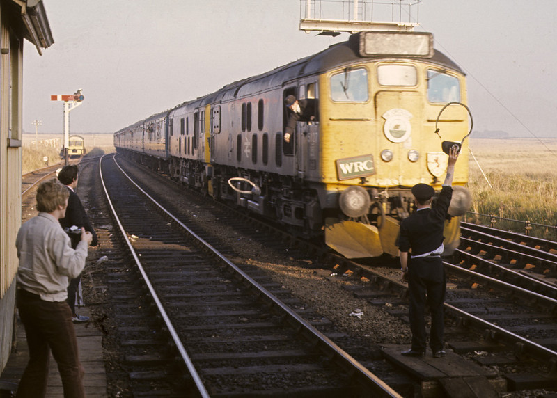 5127 & 5129, Georgemas Junction, 7 October 1972 1.     Tokens are exchanges as the 24s bring in the Wick portion of the 'Orcadian'. Photo by Les Tindall.