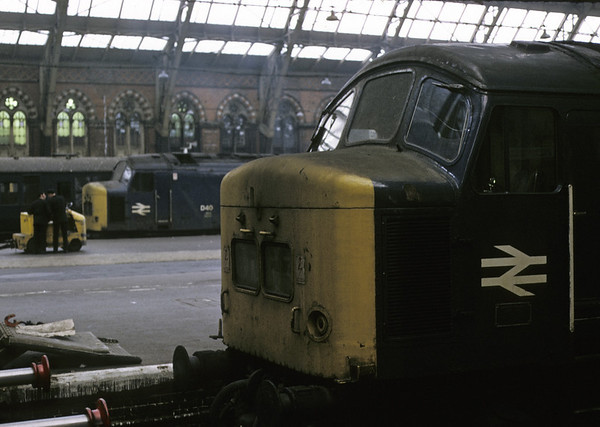 D40 & 45, St Pancras, 13 April 1974.  D40 became 45133, and is preserved.  45 became 45036, and was withdrawn in 1986.   Photo by Les Tindall.