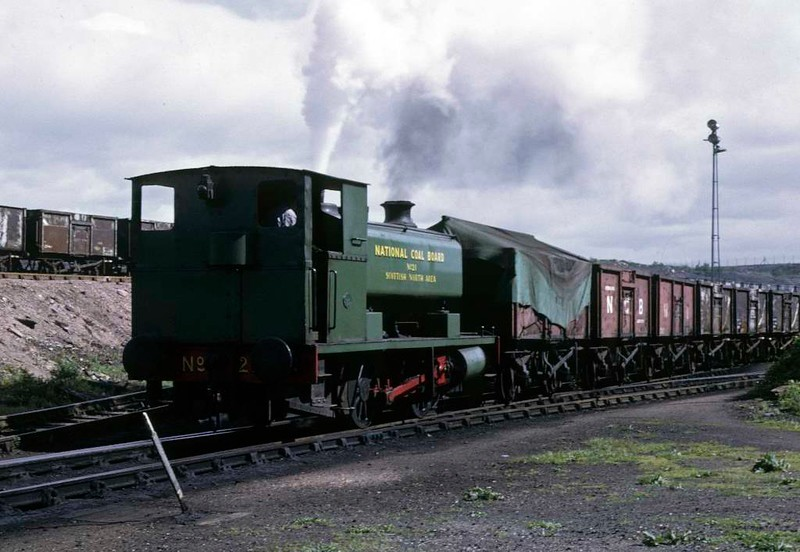 National Coal Board Scottish North Area 0-4-0ST No 21, Kinneil colliery, June 1973 1.  Barclay 2292 / 1951 shunts wagons in the yard.  Photo by Les Tindall.