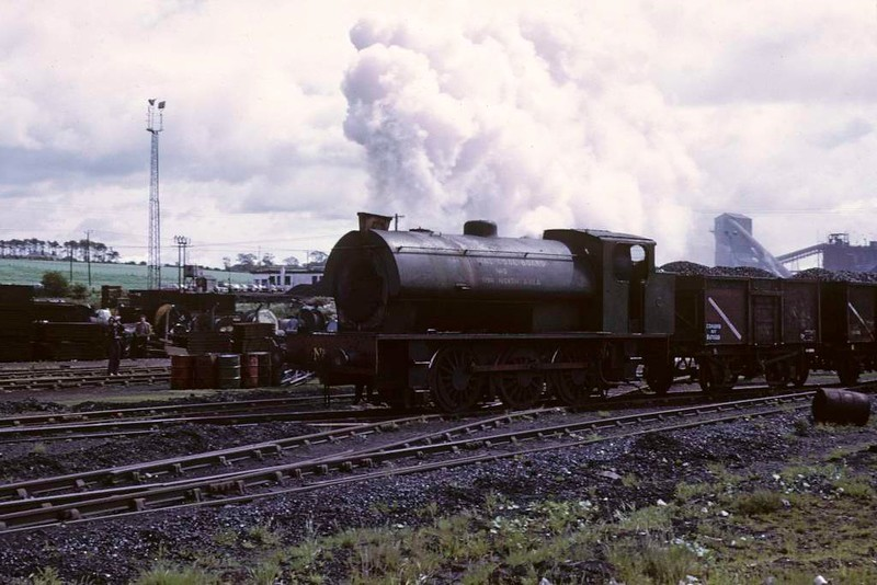 National Coal Board Scottish North Area 0-6-0ST No 5, Comrie colliery, June 1973 2.  Hauling wagons past the weighbridge.  Photo by Les Tindall.