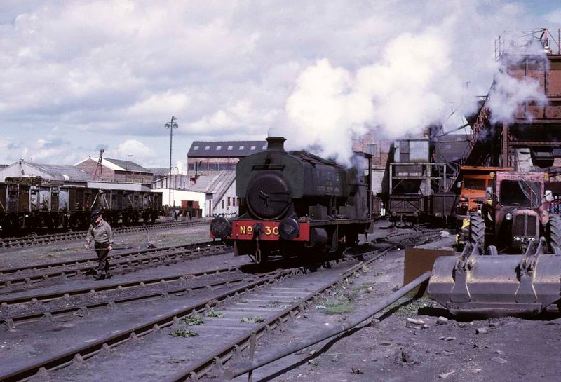 National Coal Board Scottish North Area 0-4-0ST No 30, Frances colliery, June 1973 1.  Barclay 2259 / 1949 shuntng in the yard.  Photo by Les Tindall.