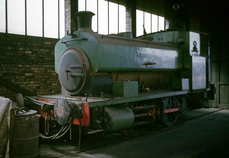 National Coal Board 0-4-0ST No 47, Kinneil colliery, June 1973.  Barclay 2157 / 1943, seen inside the shed.  In 2017 it was preserved at the Mangapps Farm Railway Museum, Essex.  Photo by Les Tindall.