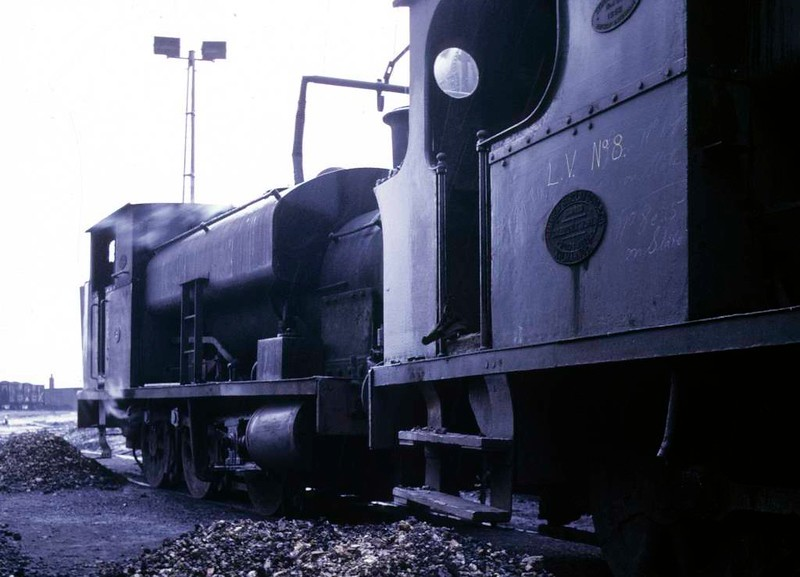 National Coal Board 0-4-0ST No 25, Polkemmet colliery, Whitburn, June 1973.  Barclay 2358 / 1954.  LV 8 is in front.  Photo by Les Tindall.