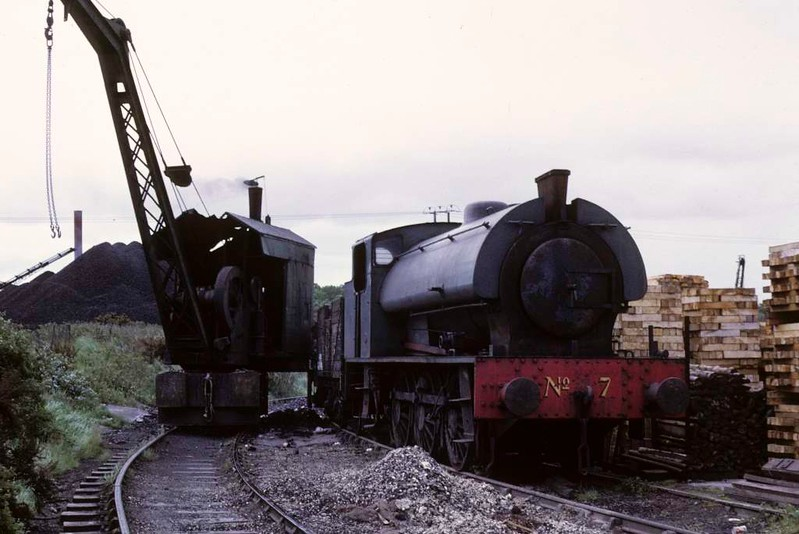 National Coal Board Scottish North Area 0-6-0ST No 7, Comrie colliery, June 1973.  Bagnall 2777 / 1945 next to an unidentified steam crane.  Photo by Les Tindall.