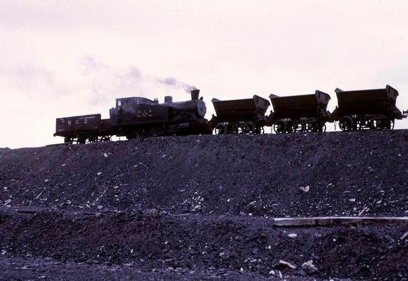National Coal Board West Ayr Area 0-6-0T No 24, Waterside, June 1973.  With spoil wagons on the tip near Minnivey.   Photo by Les Tindall.