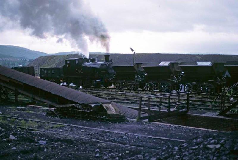National Coal Board West Ayr Area 0-6-0T No 24, Waterside, June 1973.  Shunting spoil wagons at Minnivey colliery.  Photo by Les Tindall.