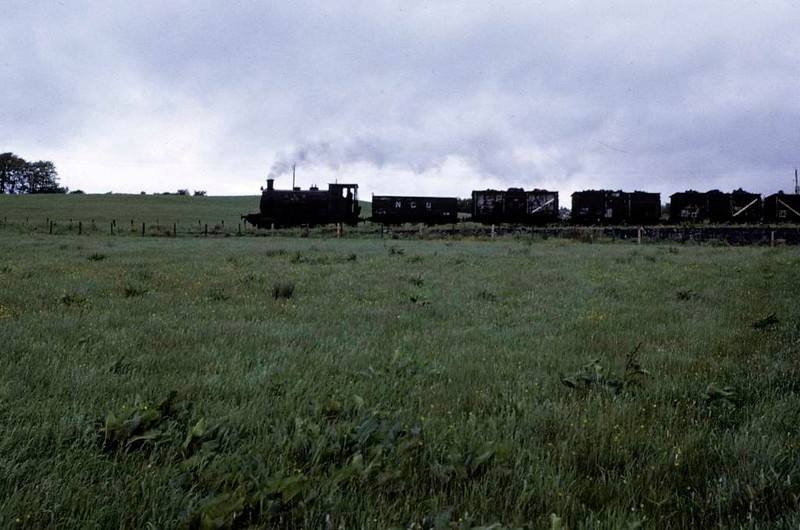 National Coal Board West Ayr Area 0-4-0ST No 19, Waterside, June 1973.  Heading down to Dunaskin washery with loaded wagons from Pennyvenie colliery.  Photo by Les Tindall.
