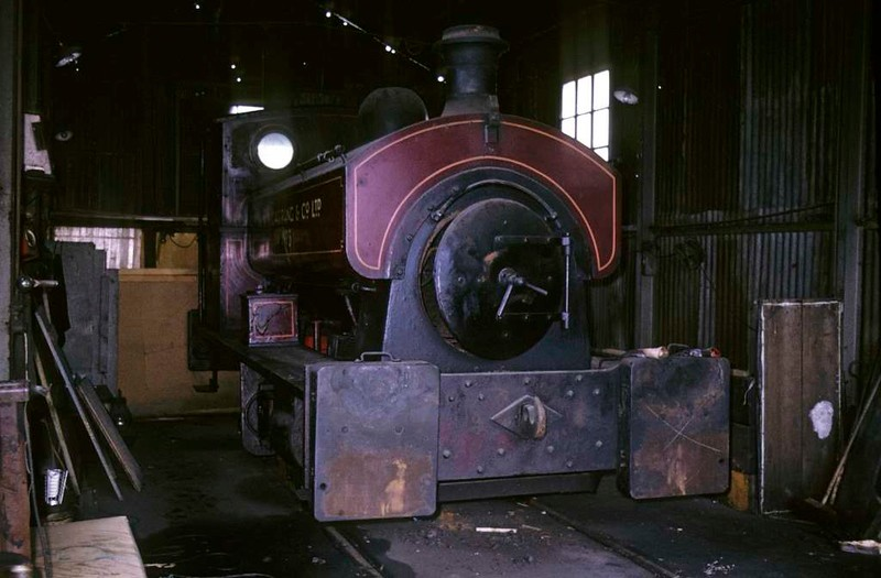 R Y Pickering & Co No 3, Wishaw, June 1973.  Hawthorn Leslie 0-4-0ST 2009 / 1884, out of use.  Photo by Les Tindall.