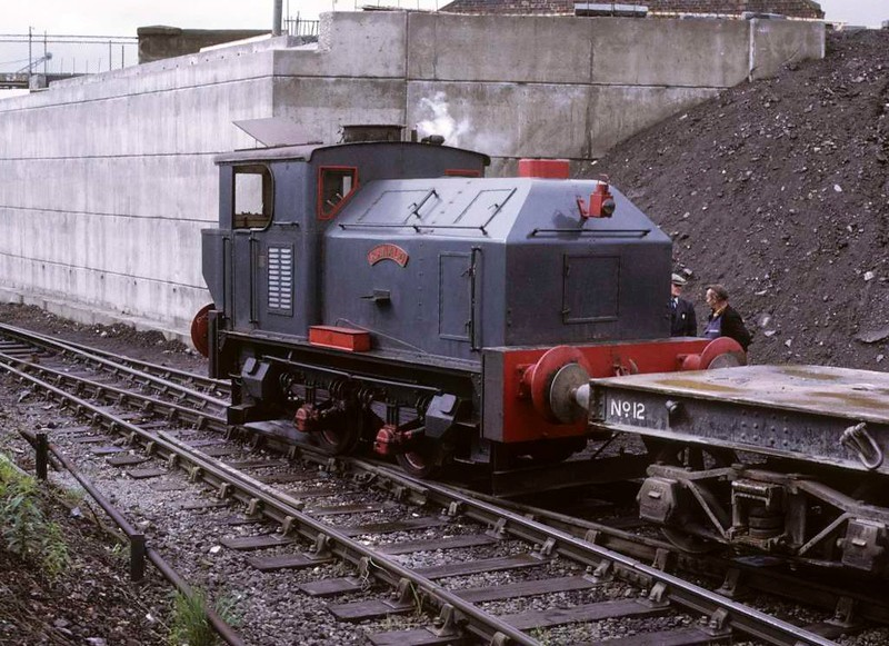 Ranald, Whifflet Foundry, Coatbridge, June 1973 1.  The Sentinel 4wVBT (9627 / 1957) during a break from shunting the works of R B Tennent.  In 2017 preserved at Bo'ness.  Photo by Les Tindall.