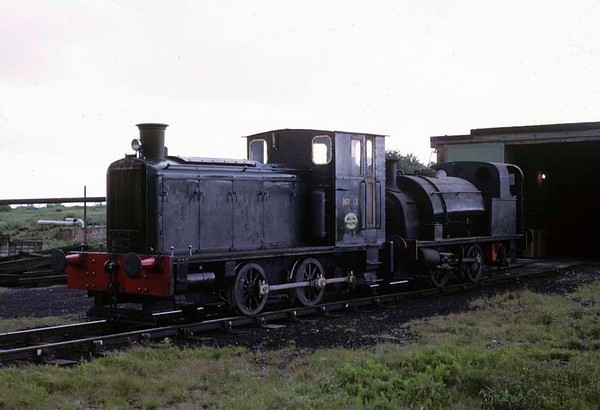Nobel Explosives Nos 1 & 2, Powfoot, Annan, June 1973.  Barclay 0-4-0DM 347 / 1944 had hauled Hawthorn Leslie 0-4-0ST 2859 / 1911 out of the shed.  In 2017 the diesel was preserved at the Scottish Industrial Railway Centre, Dalmellington.  Photo by Les Tindall.