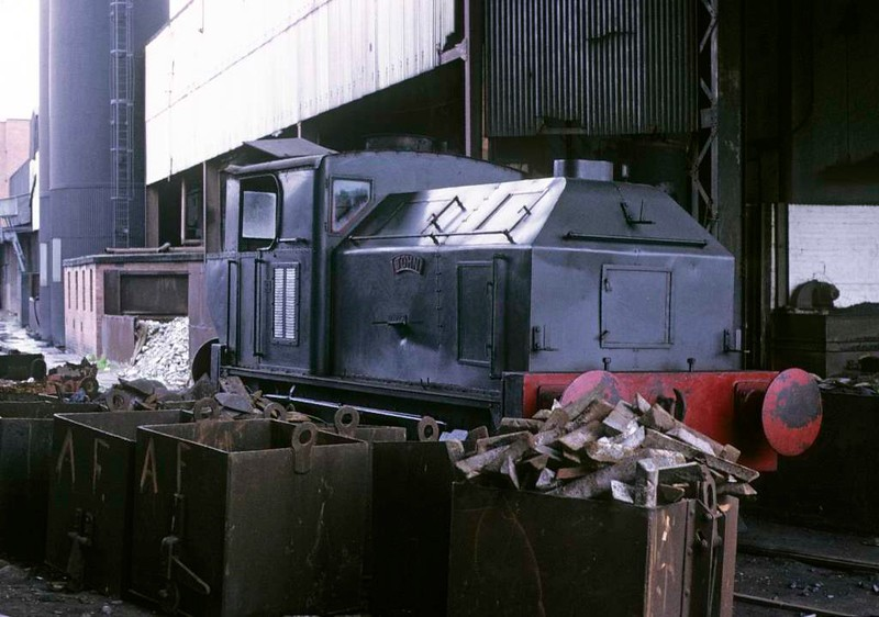 John, Whifflet Foundry, Coatbridge, June 1973.  Sentinel 4wVBT 9561  / 1953.  In 2017 preserved at Bo'ness. Photo by Les Tindall.