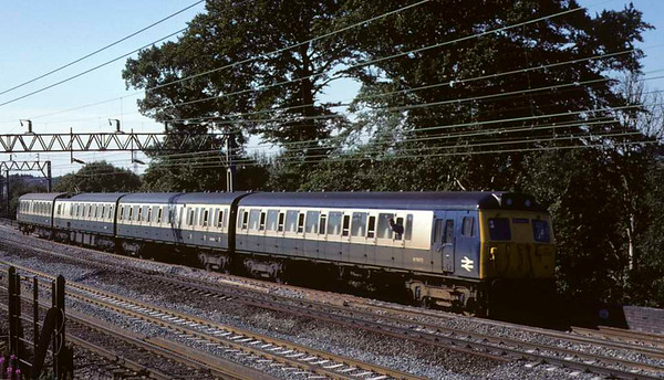 304029, approaching Whitehouse Junction, July 1981.  A Stafford - Rugby service.  Photo by Les Tindall.