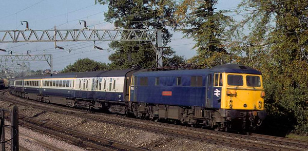 87002 Royal Sovereign, approaching Whitehouse Junction, 14 October 1979.  The 1100 Manchester - Euston.    Photo by Les Tindall.