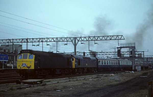 25277 & 25282, 1Z69, Stafford, 11 February 1979 2.  The Crewe Campaigner sets off for Crewe.  25277 was scrapped in 1985.  25282 was scrapped in 1989. Photo by Les Tindall.