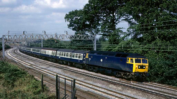 47473, approaching Whitehouse Junction, 23 August 1981.  The Liverpool - Plymouth train.  The loco was scrapped in 1998. Photo by Les Tindall.