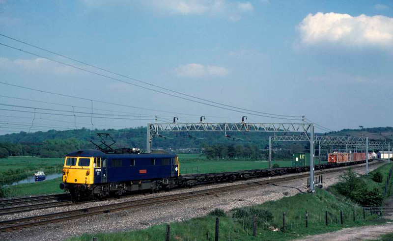 87018 Lord Nelson, near Milford, June 1978.   Heading towards Stafford with a lightly loaded freightliner.  The loco was scrapped in 2010. Photo by Les Tindall.