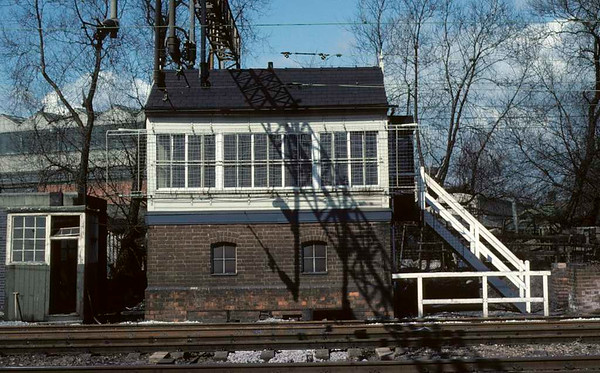 Queensville signal box, Stafford, 28 February 1977.  A view of the box a few days before it was taken out of use.  Photo by Les Tindall.