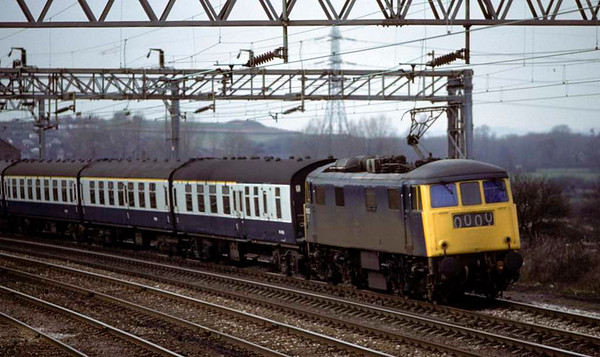 81007, 1D90, leaving Stafford, April 1980.  A southbound special formed of Mark 1 coaches. The loco was scrapped in 1991. Photo by Les Tindall.