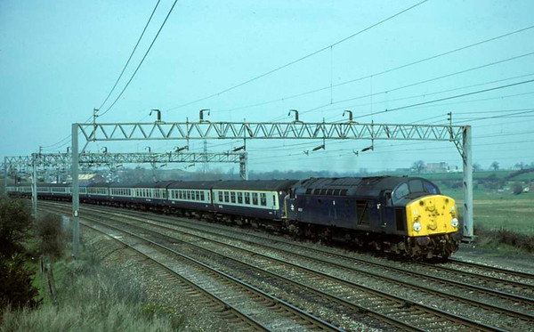 40027, leaving Stafford, May 1980.  The diverted 1012 Liverpool - Plymouth.  Photo by Les Tindall.