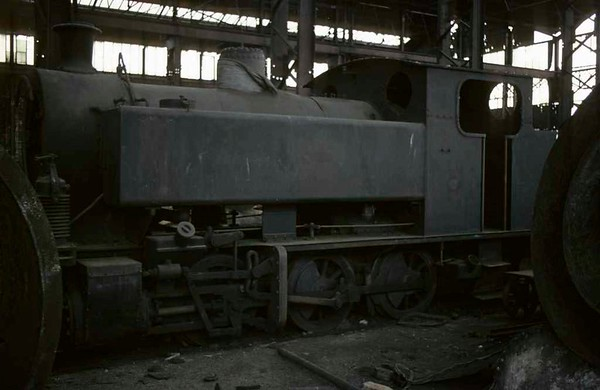 Bagnall 0-6-0PT, Brookfield Foundry, Stoke-on-Trent, September 1975.  Works number 2613 / 1940.  In 2016 this loco was preserved at the Magapps Farm Railway Musueum, Essex.  Photo by Les Tindall.