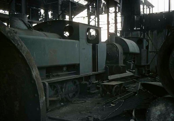 Bagnall 0-6-0PT & Kerr Stuart 0-4-0ST, Brookfield Foundry, Stoke-on-Trent, September 1975.  A view of the two locos.  Photo by Les Tindall.