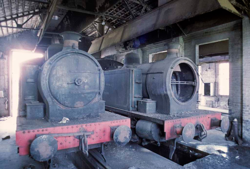 Nos 13 (left) & 12, Hams Hall power station, 15 June 1973.  Robert Stephenson & Hawthorns 0-6-0T 7846 & 7845, both built 1955 and both cannibalised to help repair the older No 9.  In 2016  7845 was on static display at Hawes as 'BR 67345,' and 7846 was at the Ferryhill Railway Heritage Trust, Aberdeen.  Photo by Les Tindall.