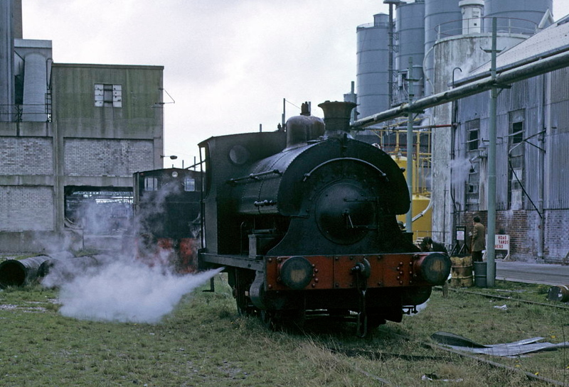 Peckett 0-4-0ST 917 / 1902, Albright & Wilson, Oldbury, 27 April 1974.  The crippled loco blows off steam for effect.  Photo by Les Tindall.