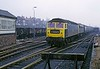 1819 (47338) & E3096 (81021), 1M99, passing Hednesford No 1 box, Sat 23 February 1974.  The 0833 Blackpool - Euston, diverted via Cannock.  Photo by Les Tindall.