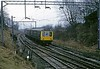 DMUs, 1H28, Rugeley North Junction, Sat 23 February 1974.  The 1215 Birmingham - Manchester approaches the WCML from the Cannock line.  Photo by Les Tindall.