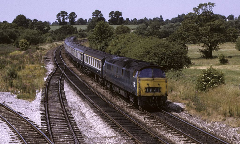1037 Western Empress, Hatton South Junction, 5 July 1972.  Photo by Les Tindall.  The Western seen earlier at Lapworth heads back to Paddington.