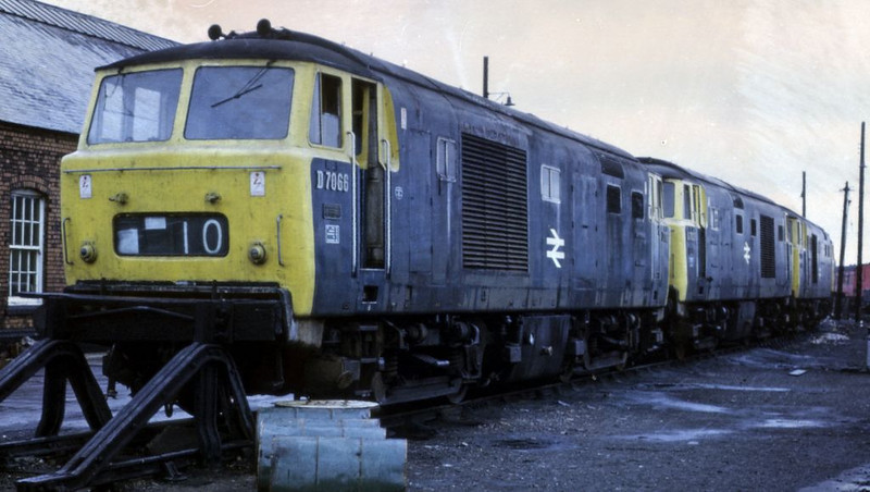 D7066, 7027, 7053 and another Hymek awaiting scrapping, Old Oak Common, 18 June 1972.  Photo by Les Tindall.