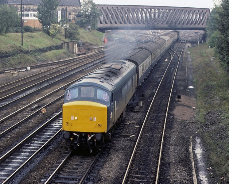 46045, York, 2 October 1976    The former D182 leaves with the 1130 to Cardiff.  It was withdrawn in 1984 but after a spell of departmental duty as 97404 it was preserved and in 2010 was at the Midland Rly Centre, Butterley. Photo by Les Tindall.