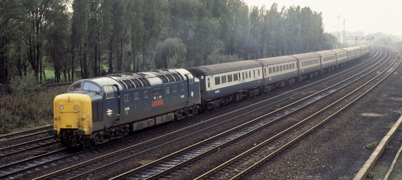 55019 Royal Highland Fusilier, York, 2 October 1976    Approaching Holgate Junction with the 0900 King's Cross - Newcastle.  55019 is one of the six preserved Deltics. Photo by Les Tindall.