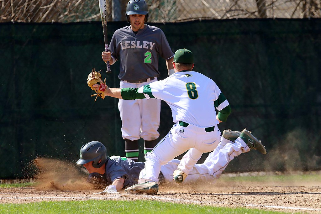 . Lesley University Baseball played Fitchburg State University on May 1, 2018. FSU pitcher Andrew Lessard gets the throw just a few seconds to lat to tag out a LU player as he stole home. SENTINEL & ENTERPRISE/JOHN LOVE