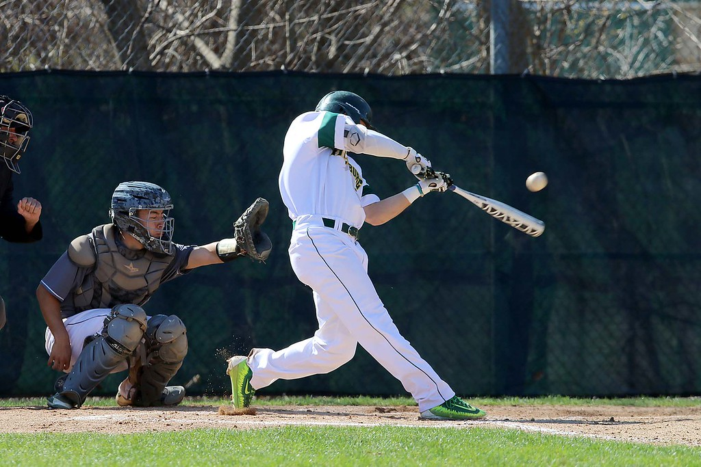 . Lesley University Baseball played Fitchburg State University on May 1, 2018. FSU player Drew Mazzeo swings at a pitch during action in the game. SENTINEL & ENTERPRISE/JOHN LOVE
