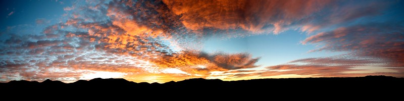 Panorama of Lesotho mountains at sunset