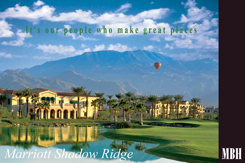 Assignment for MBH Architecture, shared with Marriott.  Palm Desert Ca. Low early light emphasized the repeating arches. Nice reflection, great clouds, and  balloons, courtesy of the spirit who watches over photographers, complete the picture.