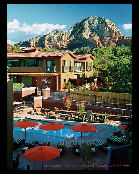 Sedona Rouge was a ten day shoot.  The buildings were finished and everything was in place. The signature red umbrellas looked great in the open shade, the building best in the sunlight. So this shot had to be planned for six a.m. Marketing director Patti Stuckey was always there ahead of us.