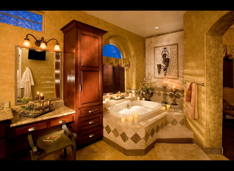 The Inland Empire is thoroughbred horse country. Ms. Anady was asked to build a home as exciting as the Andalusians being bred and trained by the owners. I was asked to use some exciting lighting in the master bath.