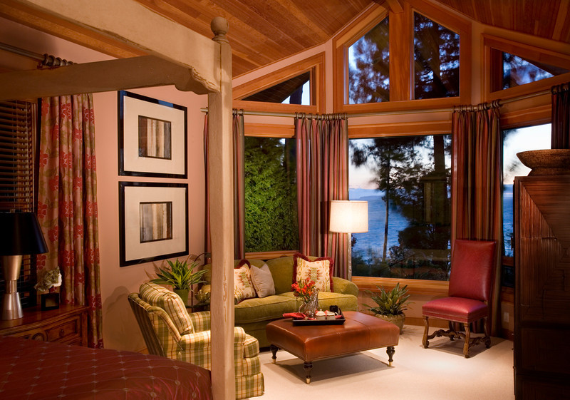 Many tones of wood surround the master bedroom requiring some finesse with my lighting plan. We are looking out across the water at Point Roberts, seen just above the lamp through the window, on this unusually clear day in the Pacific Northwest.